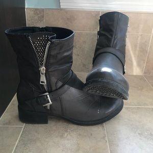 Black faux-leather boots